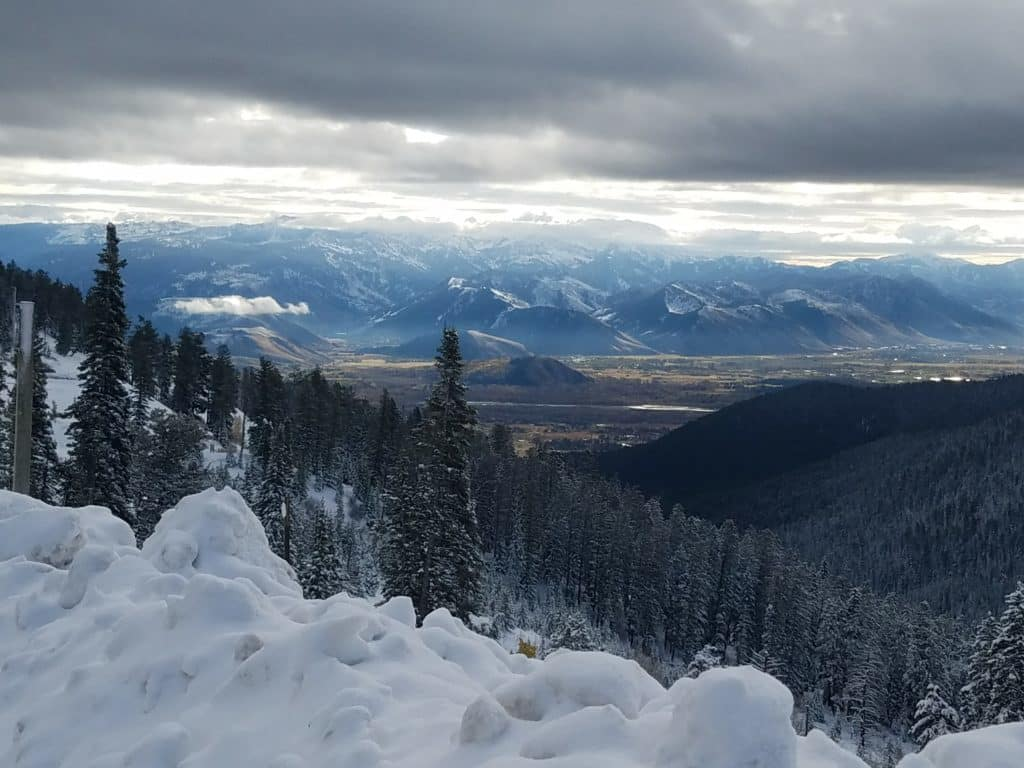 view of Jackson Hole from the pass